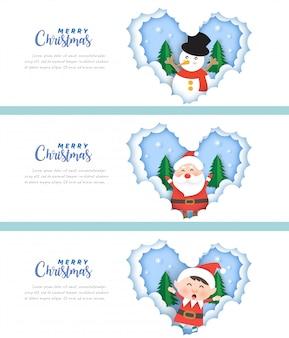 Kerst banners met santa