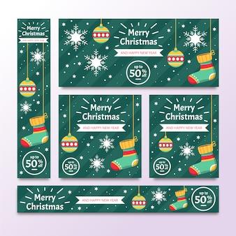 Kerst banners plat ontwerp