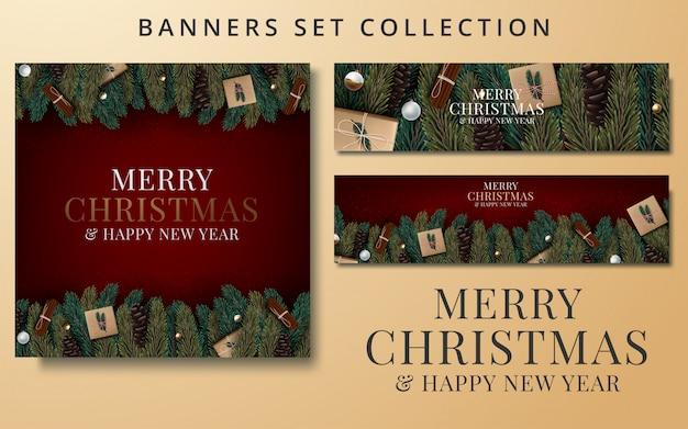Kerst banners set met fir takken versierd met linten
