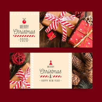 Kerst banners sjabloon met foto