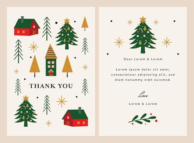 Kerst bedankt sjabloon illustratie