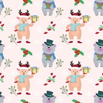 Kerst beer en herten patroon.