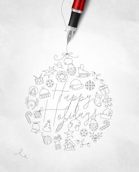 Kerst belettering fijne feestdagen met pen lijn op verfrommeld papier