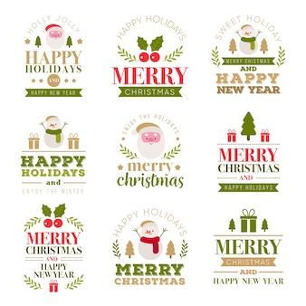 Kerst belettering label collectie