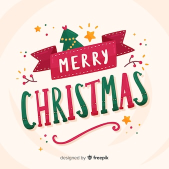 Kerst belettering met boom en sterren