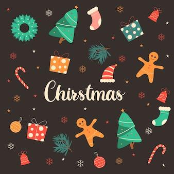 Kerst belettering met decoratie-elementen