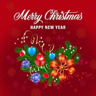 Kerst belettering met ornamenten