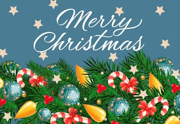 Kerst belettering op blauwe achtergrond
