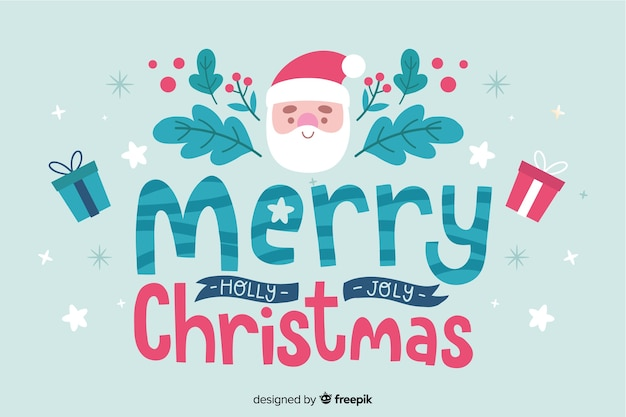Kerst belettering santa en wensen tekst