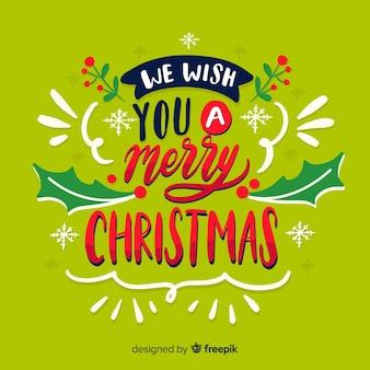 Kerst belettering wens een prettige kerst