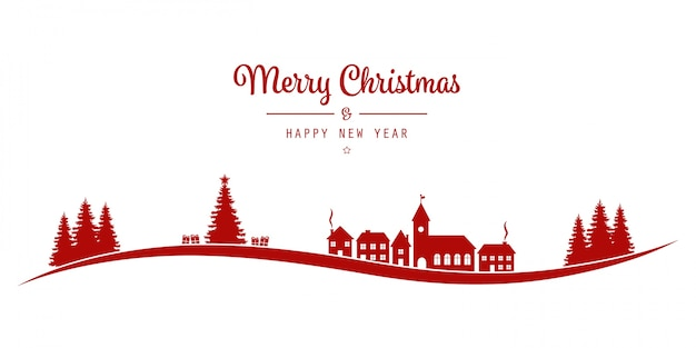 Kerst belettering winterlandschap dorp rood