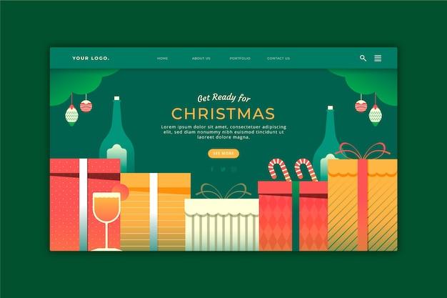 Kerst bestemmingspagina in plat ontwerp
