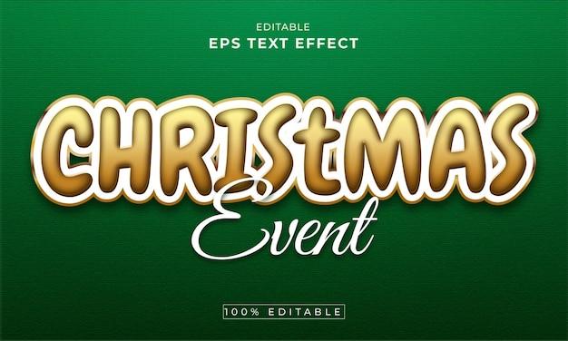 Kerst bewerkbare 3d-teksteffect premium vector