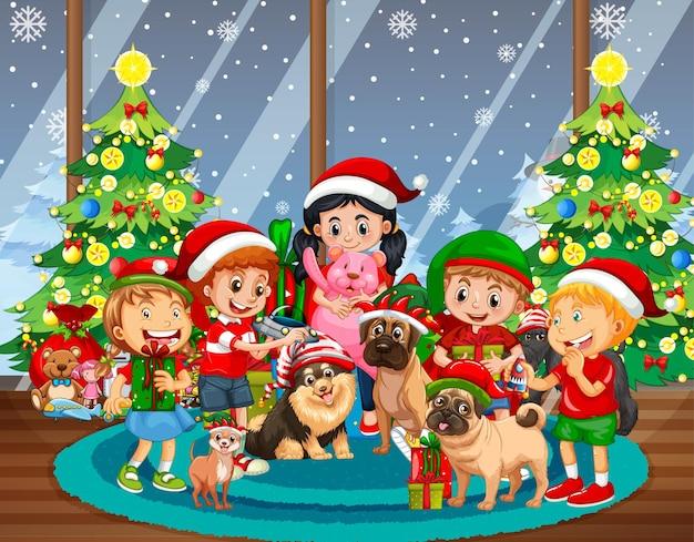 Kerst binnenscène met veel kinderen en schattige honden
