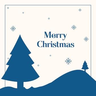Kerst blauw en wit poster