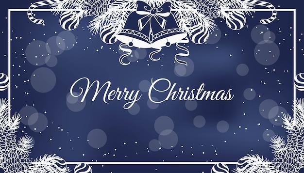 Kerst blauw met hand getrokken illustratie