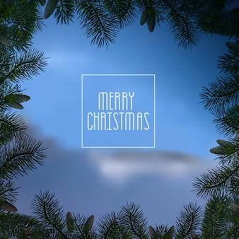Kerst blauw met kerstboom takken