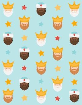 Kerst blauwe achtergrond, de drie koningen van orient voor inpakpapier patroon