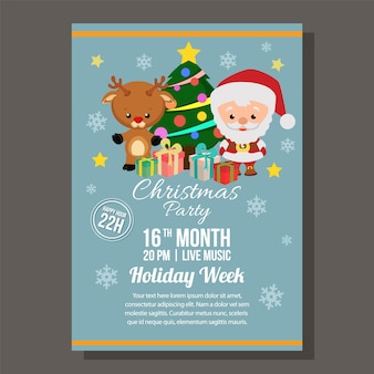 Kerst blauwe partij brochure met rendier van de kerstman