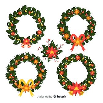 Kerst bloem- en kranscollectie in plat ontwerp