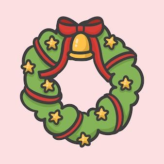 Kerst bloem krans decoratie hand getekend cartoon stijl