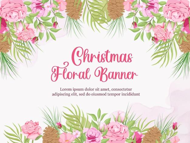 Kerst bloemen achtergrond sjabloon