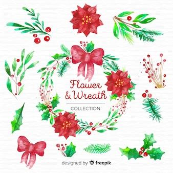 Kerst bloemen en kransen instellen