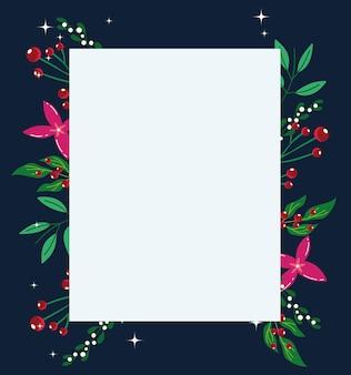 Kerst bloemen gebladerte natuur frame kaart