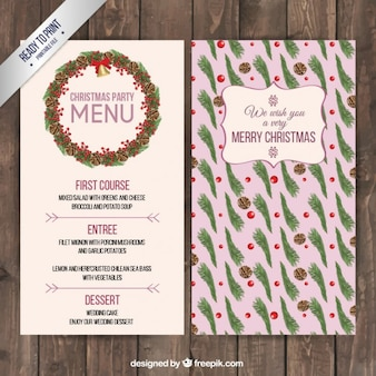 Kerst bloemen menu