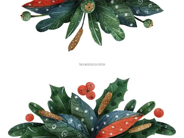 Kerst bloemendecoratie met winterplanten voor kop aquarel