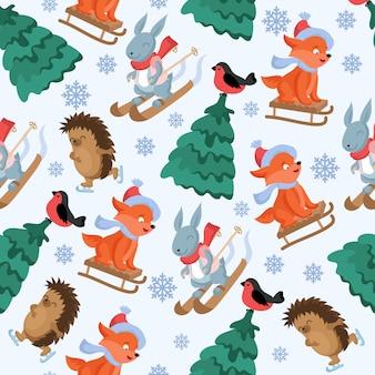 Kerst bos dieren vector naadloze patroon. grappige bos dierlijke karakters