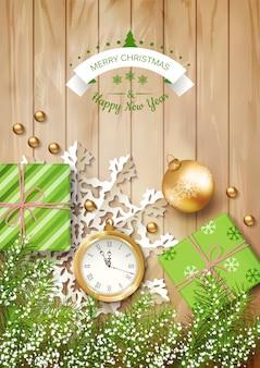 Kerst bovenaanzicht achtergrond met een klok