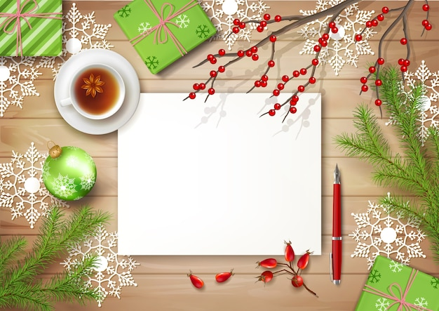 Kerst bovenaanzicht achtergrond met kopje thee