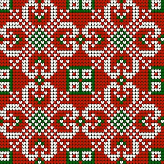 Kerst breipatroon van oma in rode, groene en witte kleuren