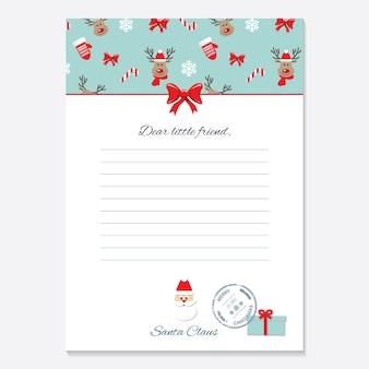 Kerst brief van santa claus-sjabloon.