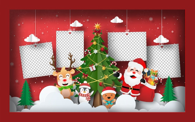 Kerst briefkaart banner achtergrond lege foto met kerstboom in frame