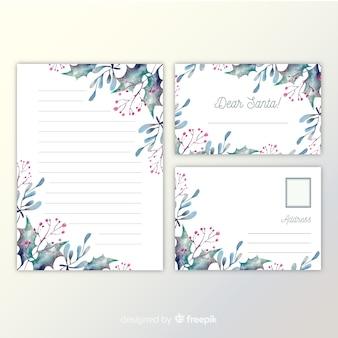 Kerst briefpapier sjabloon aquarel