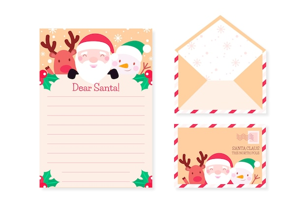 Kerst briefpapier sjabloon in plat ontwerp