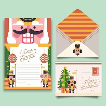 Kerst briefpapier sjabloon met notenkraker