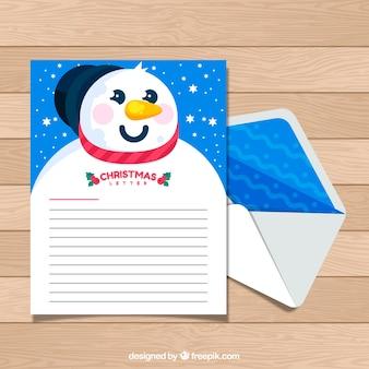Kerst briefsjabloon met een sneeuwpop