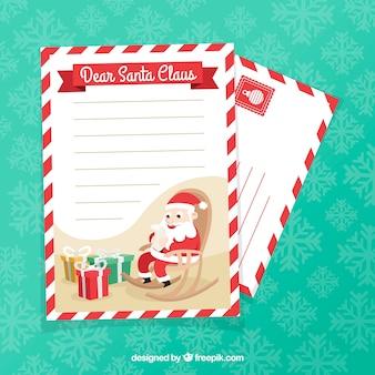 Kerst briefsjabloon met santa