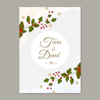 Kerst bruiloft uitnodiging sjabloon