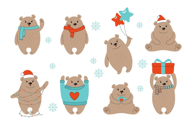 Kerst bruine beer tekenfilm verzameling