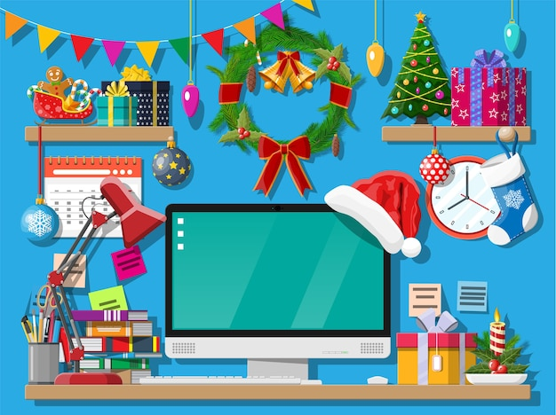 Kerst bureau werkruimte decoratie