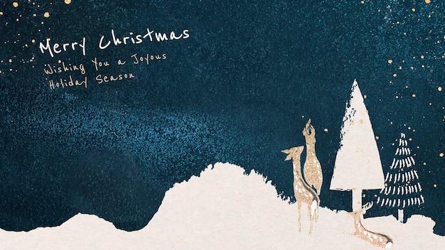 Kerst bureaubladachtergrond sjabloon, bewerkbare groet, feestelijke ontwerpvector