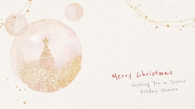 Kerst bureaubladachtergrond sjabloon, bewerkbare groeten, feestelijke ontwerpvector
