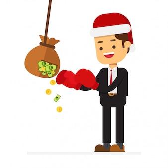 Kerst business man met honkbalknuppel verslaat tas met geld