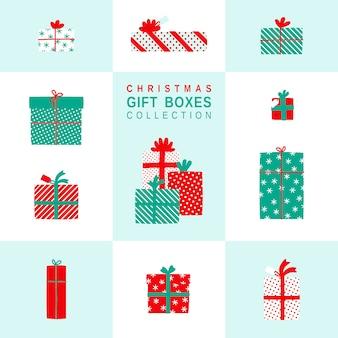Kerst cadeau dozen eenvoudige illustraties set