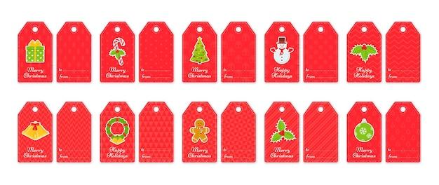 Kerst cadeau-tags. kerst- en nieuwjaarskaarten voor cadeautjes. vector illustratie.