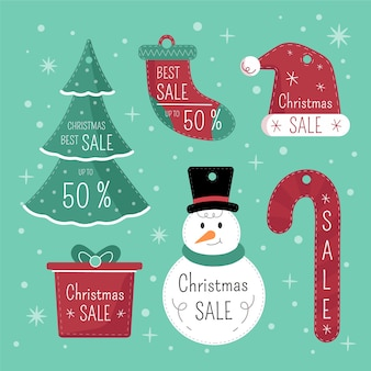 Kerst cadeau tags set met schattige elementen ontwerp